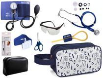 Kit Enfermagem Aparelho Pressão com Estetoscópio Premium Azul Completo + Necessaire -
