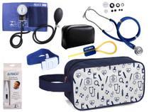 Kit Enfermagem Aparelho Pressão com Estetoscópio Premium Azul + Termômetro + Necessaire -