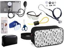 Kit Enfermagem Aparelho Pressão com Estetoscópio Premium Grafite Completo + Necessaire -