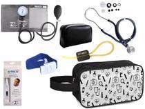 Kit Enfermagem Aparelho Pressão com Estetoscópio Premium Grafite + Termômetro + Necessaire -
