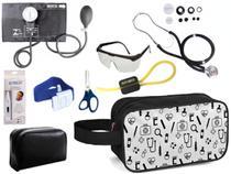Kit Enfermagem Aparelho Pressão com Estetoscópio Premium Preto Completo + Necessaire -