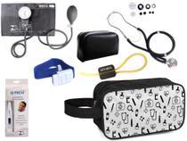 Kit Enfermagem Aparelho Pressão com Estetoscópio Premium Preto + Termômetro + Necessaire -