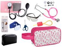 Kit Enfermagem Aparelho Pressão com Estetoscópio Premium Rosa Completo + Necessaire -