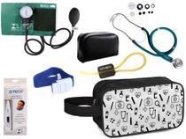 Kit Enfermagem Aparelho Pressão com Estetoscópio Premium Verde + Termômetro + Necessaire -