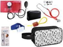 Kit Enfermagem Aparelho Pressão com Estetoscópio Premium Vermelho + Termômetro + Necessaire -