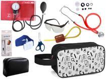 Kit Enfermagem Aparelho Pressão com Estetoscópio Premium Vinho Completo + Necessaire -