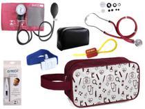 Kit Enfermagem Aparelho Pressão com Estetoscópio Premium Vinho + Termômetro + Necessaire -