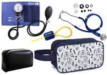 Kit Enfermagem Aparelho Pressão com Estetoscópio Rappaport Azul Premium + Necessaire -