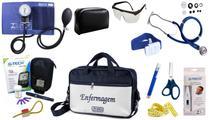 Kit Enfermagem Aparelho Pressão com Estetoscópio Rappaport Premium Completo - Azul + Bolsa JRMED + Medidor de Glicose - G-Tech -