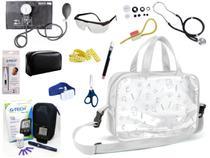 Kit Enfermagem Aparelho Pressão com Estetoscópio Rappaport Premium Completo Preto + Bolsa Transparente + Medidor de Glicose - G-Tech -
