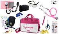 Kit Enfermagem Aparelho Pressão com Estetoscópio Rappaport Premium Completo - Rosa + Bolsa JRMED + Medidor de Glicose - G-Tech -
