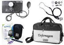 Kit Enfermagem Aparelho Pressão com Estetoscópio Rappaport Premium - Preto + Bolsa JRMED + Medidor de Glicose - G-Tech -