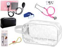Kit Enfermagem Aparelho Pressão com Estetoscópio Rappaport Premium Rosa + Termômetro + Necessaire Transparente -