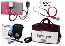 Kit Enfermagem Aparelho Pressão com Estetoscópio Rappaport Premium - Vinho + Bolsa JRMED + Medidor de Glicose - G-Tech -