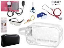 Kit Enfermagem Aparelho Pressão com Estetoscópio Rappaport Premium Vinho Completo + Necessaire Transparente -