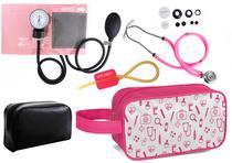 Kit Enfermagem Aparelho Pressão com Estetoscópio Rappaport Rosa Premium + Necessaire -