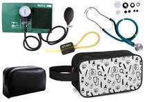 Kit Enfermagem Aparelho Pressão com Estetoscópio Rappaport Verde Premium + Necessaire -