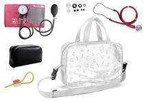 Kit Enfermagem Aparelho Pressão com Estetoscópio Rappaport Vinho Premium + Bolsa Transparente + Garrote Exclusivo JRMED -