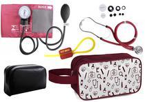 Kit Enfermagem Aparelho Pressão com Estetoscópio Rappaport Vinho Premium + Necessaire -