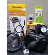 Kit Enfermagem Com Esfigmomanômetro + Estetoscopio Duplo Rappaport + Garrote + Termometro Digital Premium - G-Tech