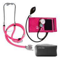 Kit Enfermagem Esfigmomanometro Aparelho De Medir Pressão Arterial + Estetoscópio Rappaport Duplo  P. A. MED -