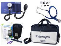 Kit Enfermagem Esfigmomanômetro com Estetoscópio Rappaport Premium - Azul + Bolsa JRMED + Medidor de Glicose - G-Tech -