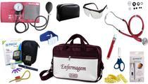 Kit Enfermagem Esfigmomanômetro com Estetoscópio Rappaport Premium Completo - Vinho + Bolsa JRMED + Medidor de Glicose - G-Tech -