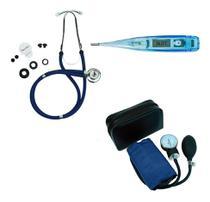 Kit Enfermagem Esfigmomanometro + Esteto Duplo + Termometro - Premium
