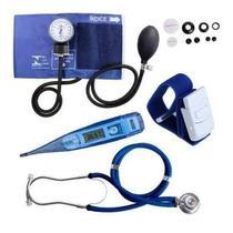 Kit Enfermagem Esfigmomanômetro Esteto Garrote Termometro - Premium