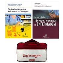 Kit Enfermagem: Manual Do Técnico e Auxiliar de Enfermagem 2ª Ed+ Cálculo e Administração de Medicamentos+ Bolsa - Editora martinari