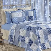 c4c4d282ab Kit enxoval Dupla Face Requinte 7 peças tamanho King Estampado cor Azul -  King - Azul