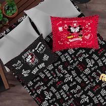 Kit Enxoval Mickey e Minnie Lençol  de Casal com 2 Fronhas - Disney