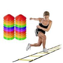 Kit Escada Agilidade + 20 Half Cone Chapeu Chines PVC Rythmoon -