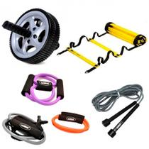 Kit Escada de Agilidade 4 Degraus + 3 Extensores Elastico + Corda Pular + Roda Abdominal  Liveup -