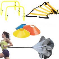 Kit Escada de Agilidade 4m + 20 Cones Chinesinho + Paraquedas + 5 Barreiras  Liveup -