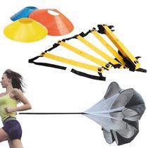 Kit Escada de Agilidade 4m + 20 Cones Chinesinhos + Paraquedas  Liveup -