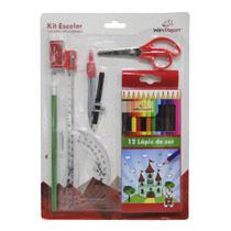 Kit escolar com lapis de cor + compasso + acessorios 20 pecas na cartela - Win Paper