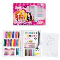 Kit Escolar com Lápis, Giz de Cera e Canetinhas 98 Peças Glam Girls Wellmix WE3909 -