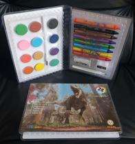 Kit Escolar Estojo Maleta Pintura 24 Peças Transparente Artzone Dinossauros MT-24T - Regal -