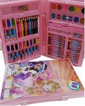 Kit Escolar Estojo Maleta Pintura 68 Peças Rosa MT-68R - Regal -