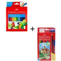 Kit Escolar Faber Castell Lapis De Cor 12 Cores + Canetinha 12 Cores -