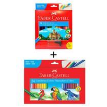 Kit Escolar Faber Castell Lapis De Cor 24 Cores + Canetinha 24 Cores -