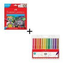 Kit Escolar Faber Castell Lapis De Cor 60 Cores + Canetinha Fine Pen Colors Com 12 Cores -