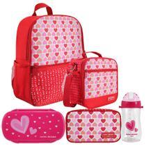 Kit Escolar Infantil Feminino Vermelho Mochila + Lancheira + - Jacki design