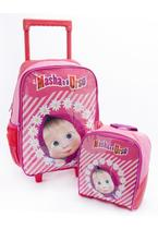 Kit escolar lancheira + mochila de rodinhas - rosa - Masha E O Urso