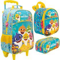 Kit Escolar - Mala com Rodinhas, Lancheira e Estojo Duplo - Baby Shark - Family - Xeryus -