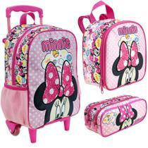 Kit Escolar - Mala com Rodinhas, Lancheira e Estojo Duplo - Disney - Minnie Mouse - Xeryus -