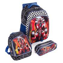 3976572d9 Kit Escolar Mochila Infantil com Rodinhas + Lancheira + Estojo Carro Swiss  Move Team Wheels 3D Preto