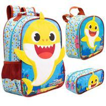 Kit Escolar - Mochila Infantil, Lancheira e Estojo Duplo - Baby Shark - Xeryus -