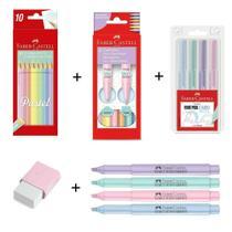 Kit Escolar Tons Pasteis Faber Castell 10 Lapis + 6 Canetinha + 4 Canetas + 4 Marca Texto + 1 Borracha -